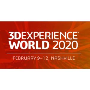 3D Experience World 2020 February 9-12 Nashville TN white lettering on red splash background