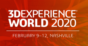 3DExperience World 2020 Feb 9-12 Nashville TN white letters on red background
