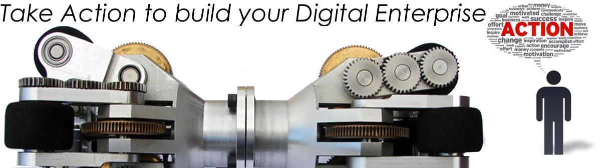 Take Action to build your Digital Enterprise text overlay on a steel machined part