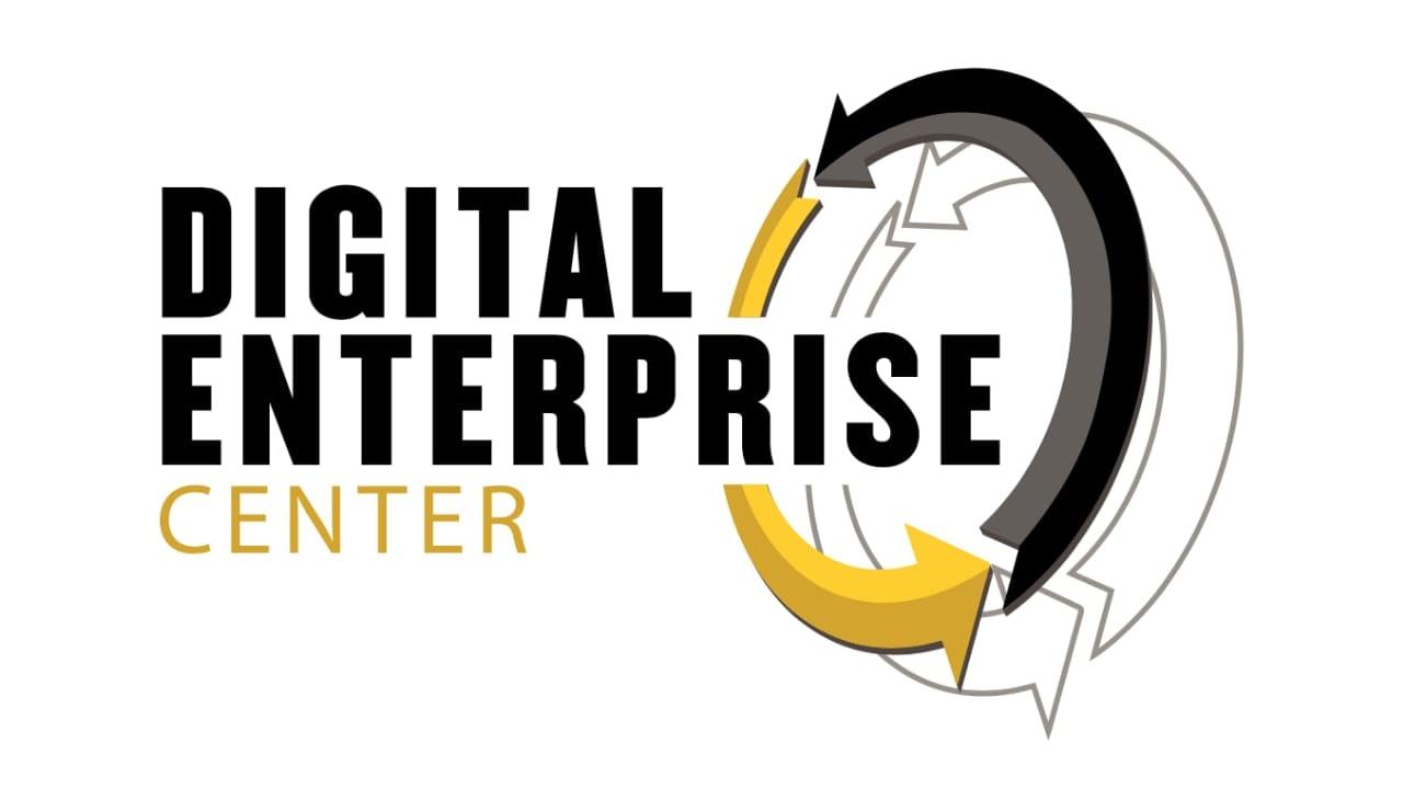Purdue Digital Enterprise Center Logo with gold + black circulating arrows