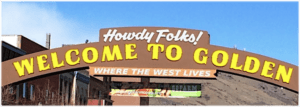 Iconic Howdy Folks sign, downtown Golden, Colorado