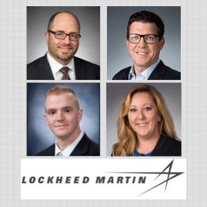 Lockheed Martin Panel Collage of 3 men and 1 woman in dark jackets with Lockheed Martin Logo